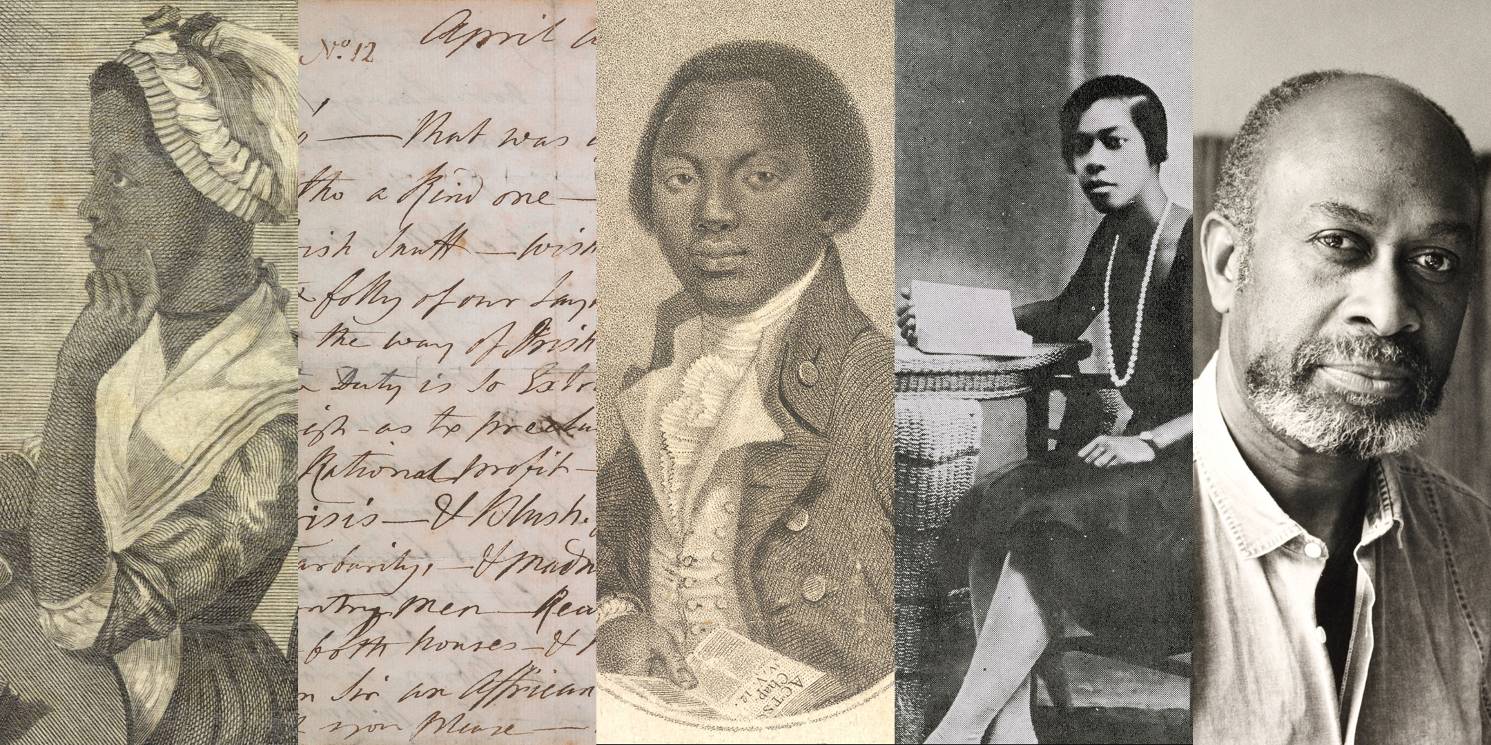 Images of Black British writers and their work depicting Phillis Wheatley, Olaudah Equiano, Una Marson and James Berry,