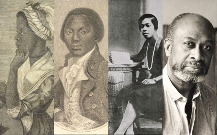 Portraits of Phillis Wheatley, Olaudah Equiano, Una Marson and James Berry