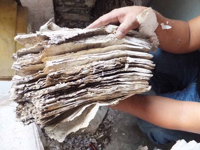 Documents destroyed by the extremes of wet conditions and insect infestations in Mizoram – said to be the wettest place on the planet - northeast India. Endangered Archives Programme. Photography © Dr Kyle Jackson