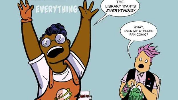 "Cartoon of woman shouting ""The Library wants everything!""."
