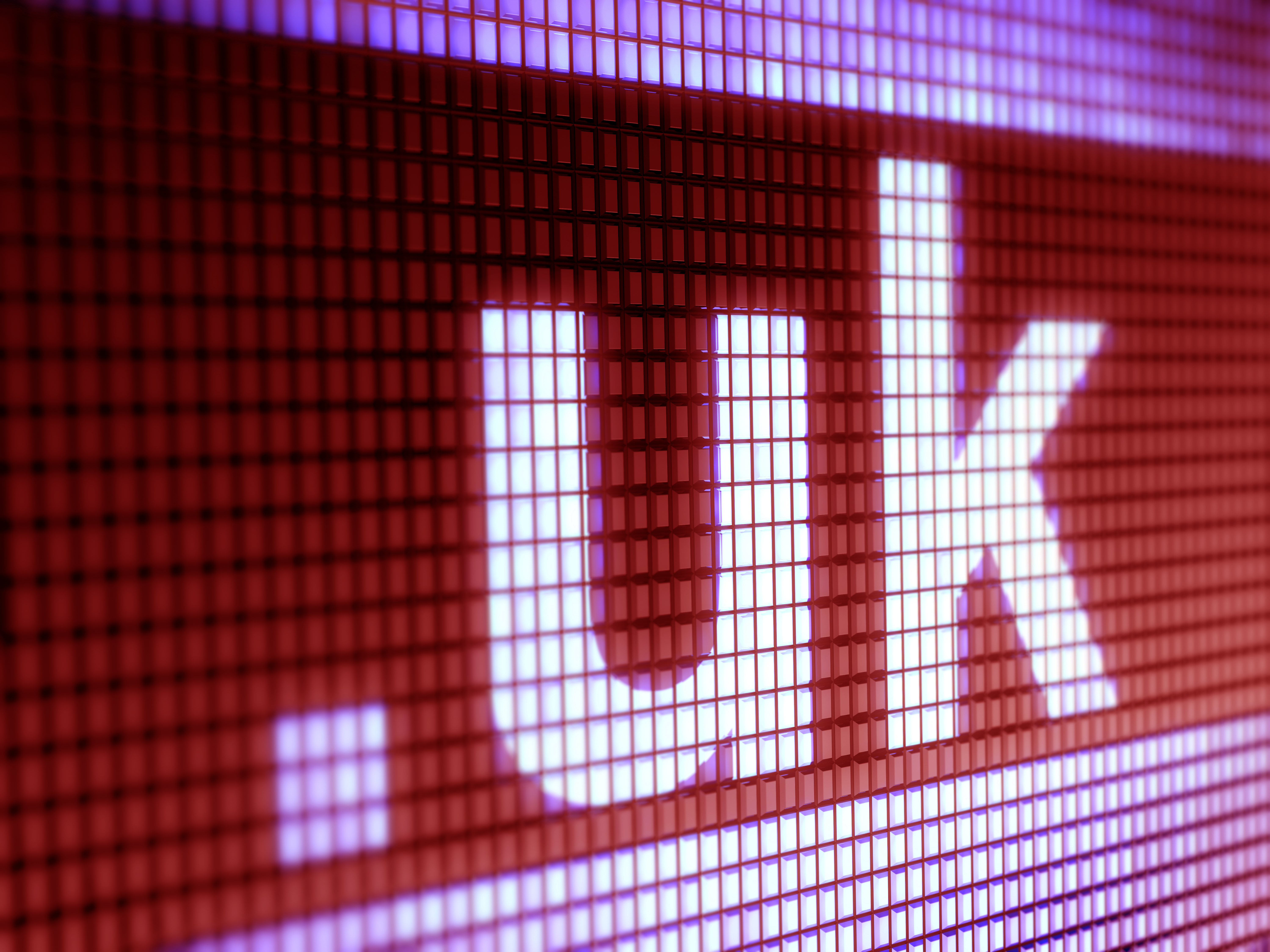 "Large lettering of "".uk"" presented on a display screen."