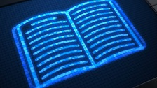 Blue digital book icon image screen.