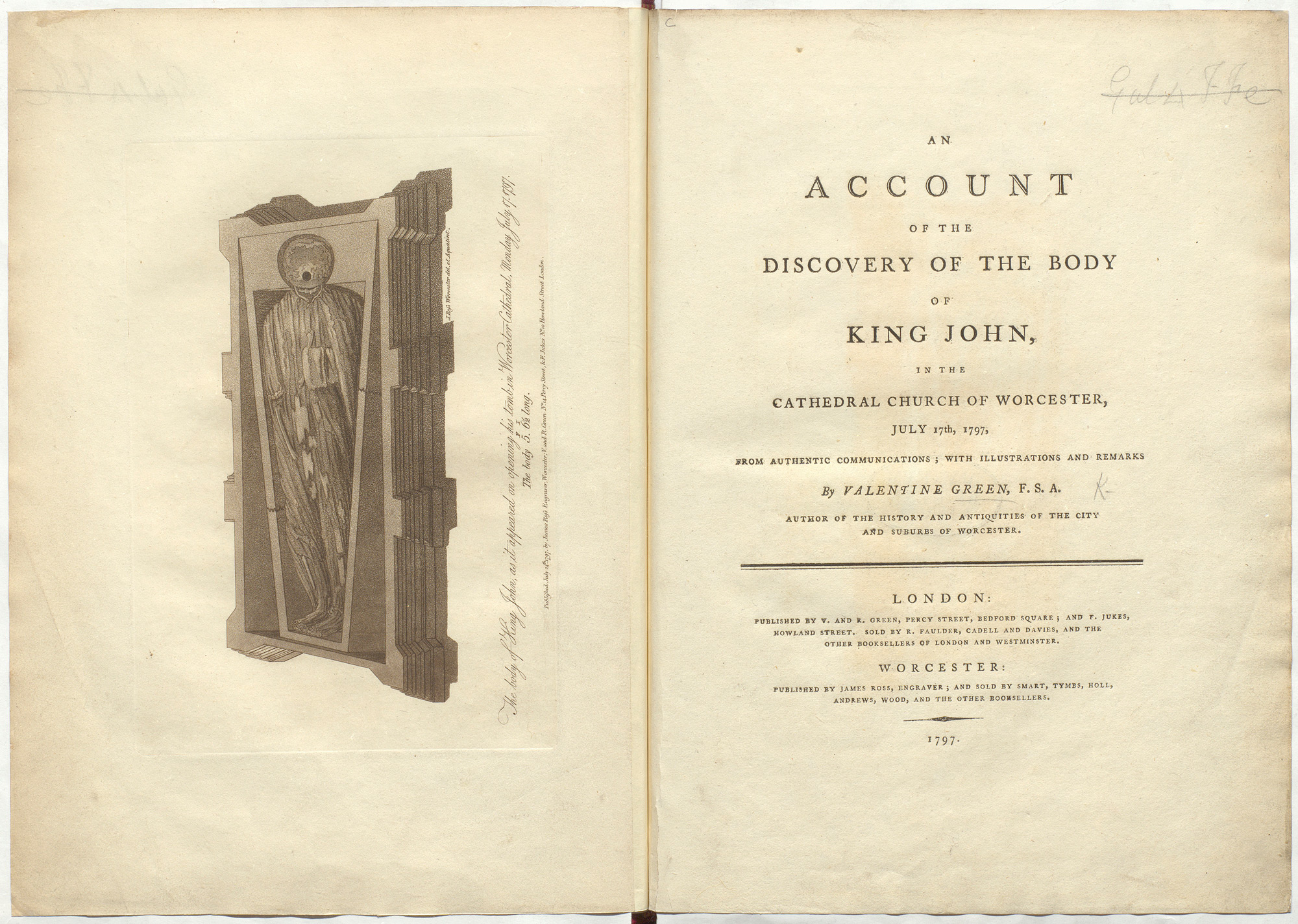 Account about opening King John's tomb