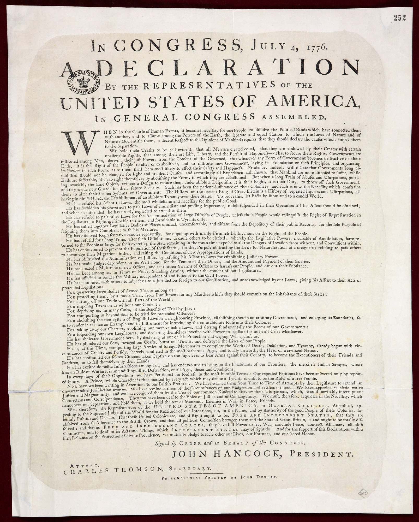 dunlap printing of the declaration of independence the british library