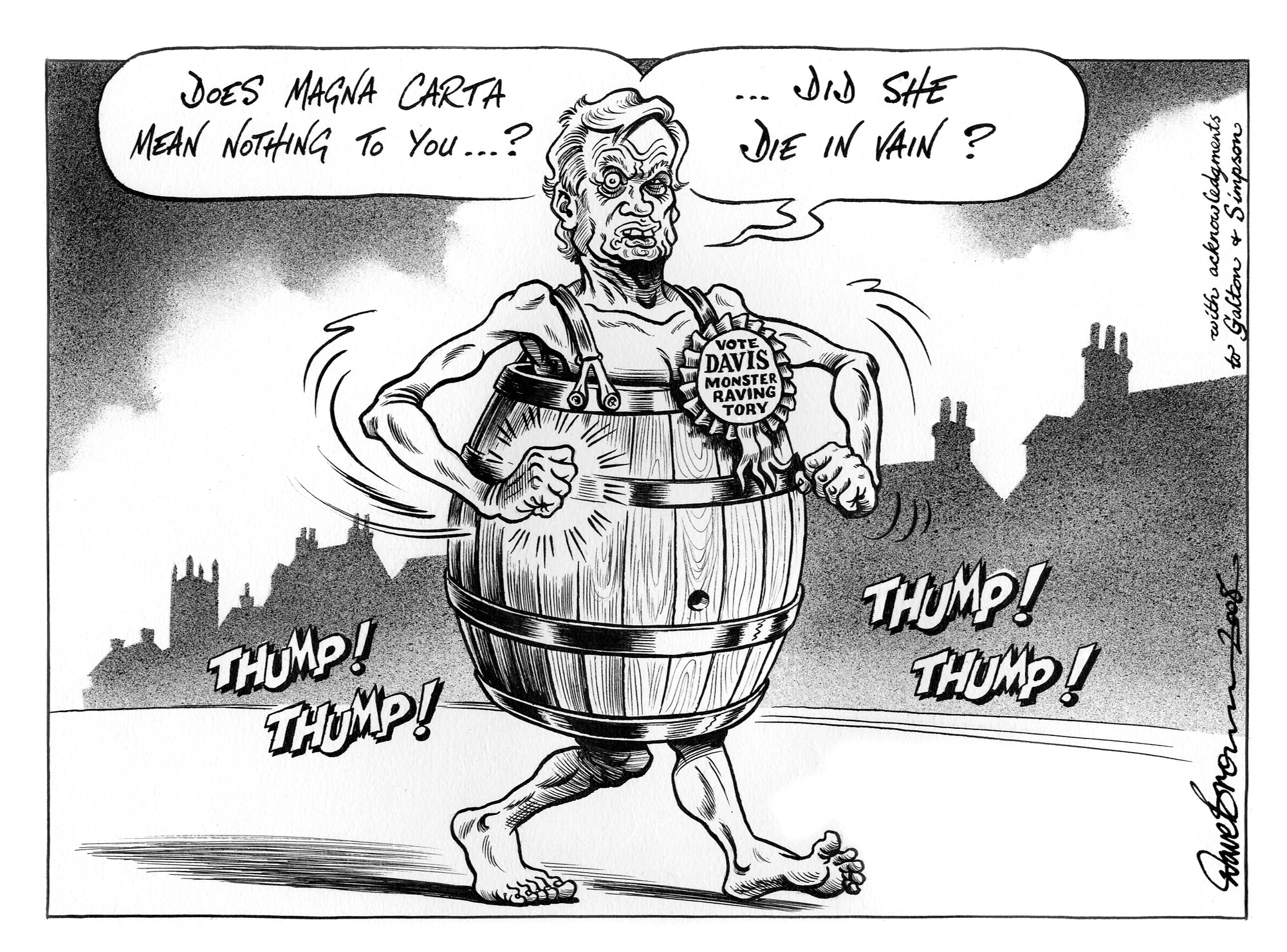 Cartoon entitled 'Does Magna Carta mean nothing to you?' and featuring David Davis