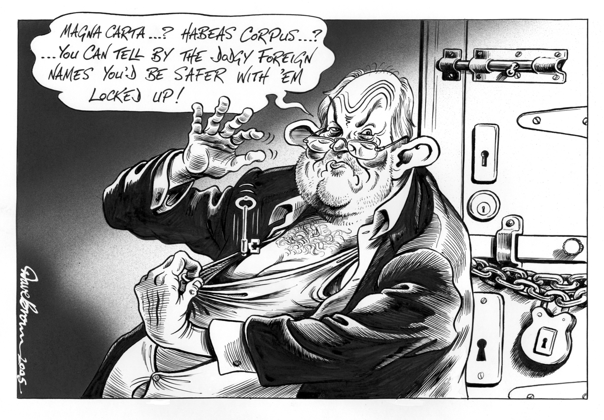 Cartoon entitled 'Magna Carta? Habeas Corpus?' and featuring Charles Clarke