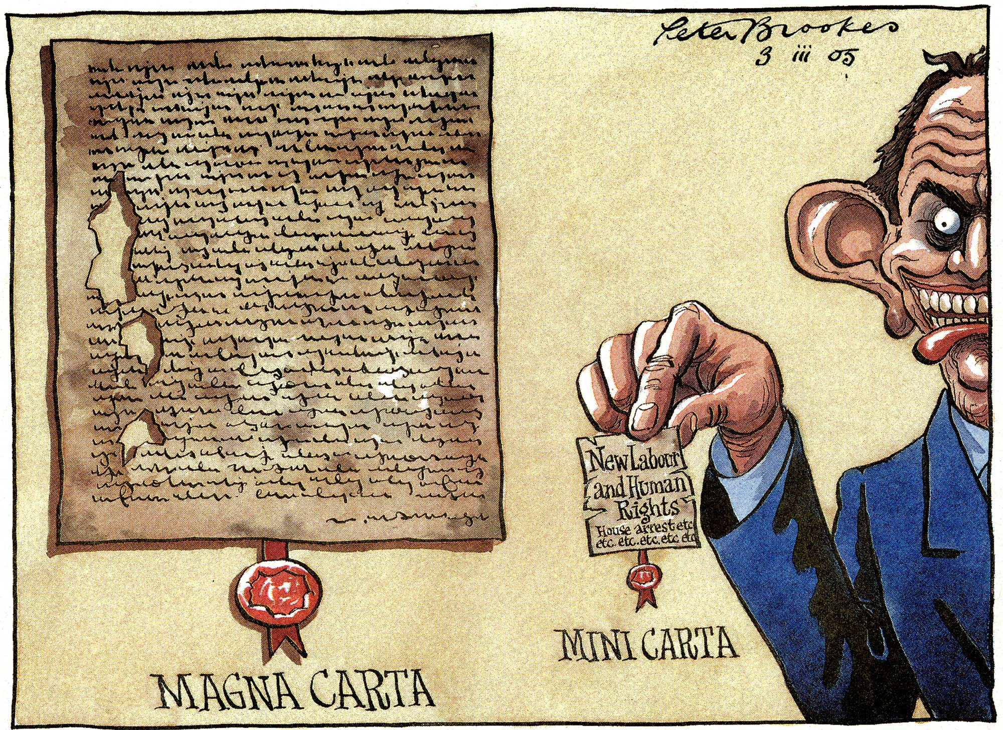 Cartoon entitled 'Magna Carta, Mini Carta' and featuring Tony Blair