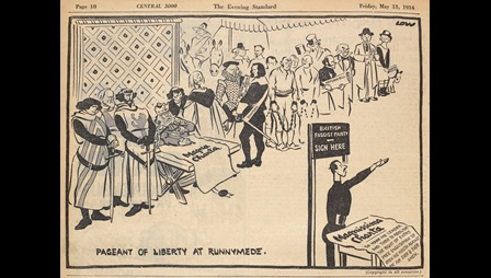 Cartoon entitled 'Pageant of Liberty at Runnymede'