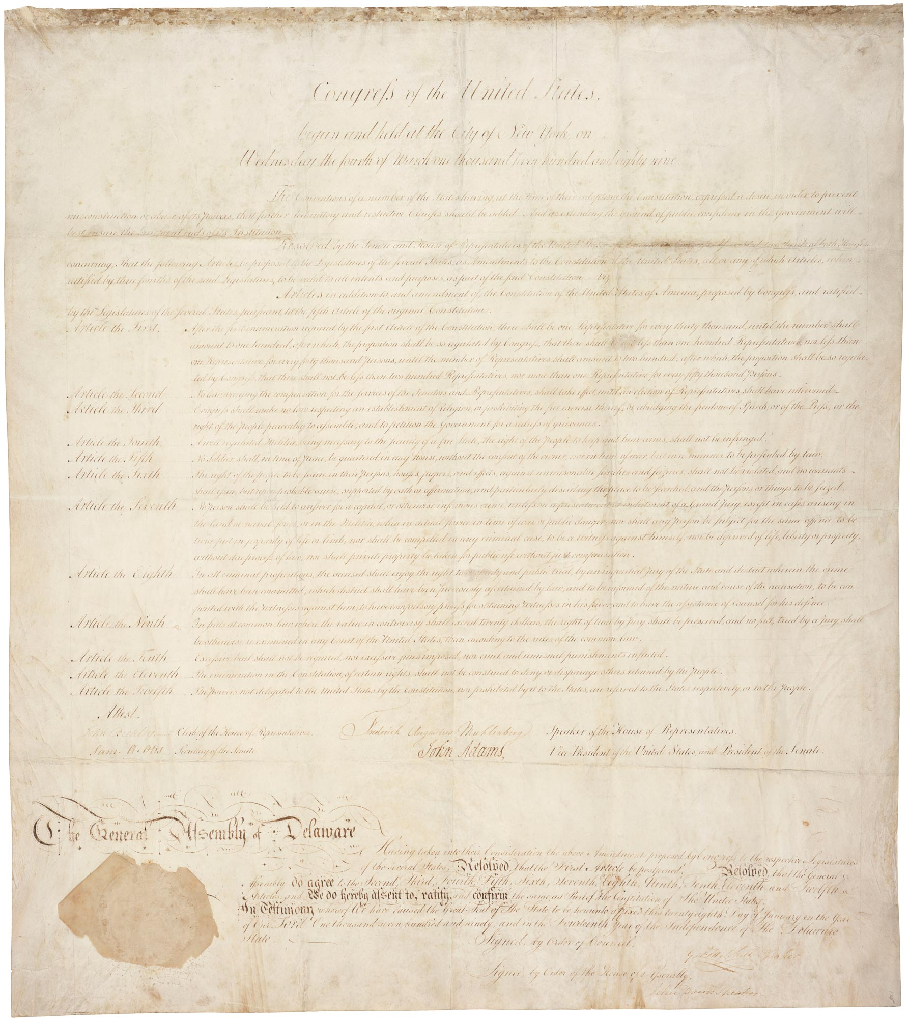 Delaware copy of the United States Bill of Rights