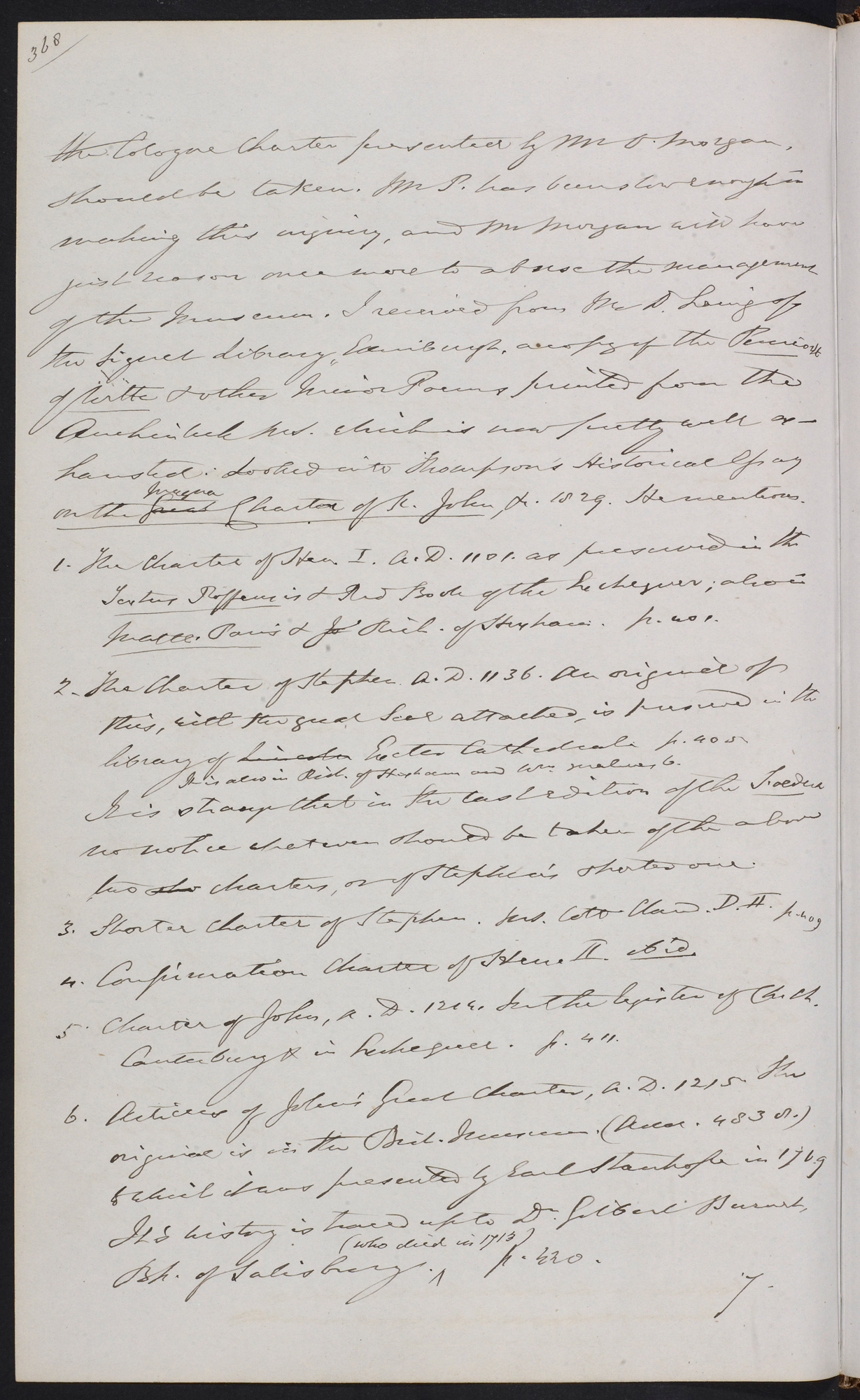 Diary of Sir Frederic Madden, reporting damage to the burnt Magna Carta