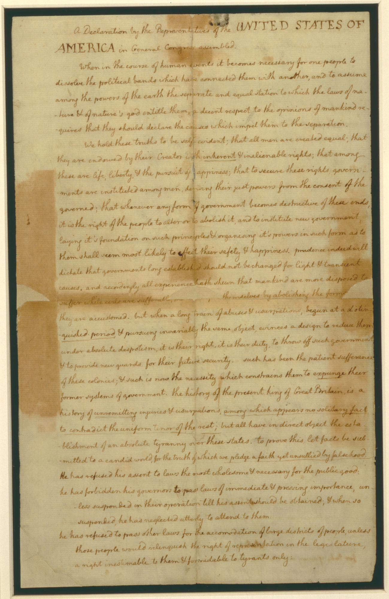 Draft of the American Declaration of Independence made by Thomas Jefferson