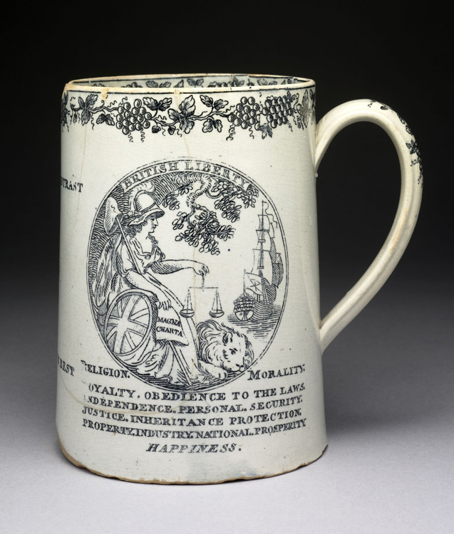 Earthenware mug depicting French Liberty and English Liberty