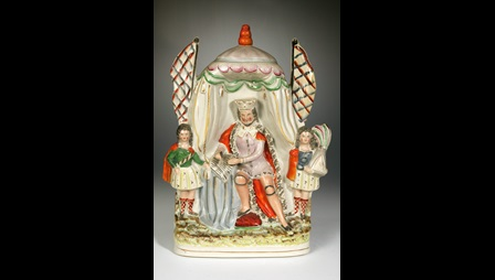 Earthenware flatback depicting John signing Magna Carta