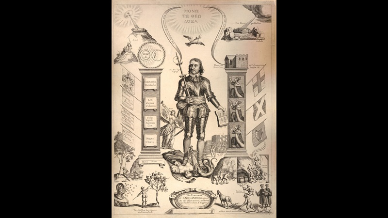 Print depicting Oliver Cromwell favourably, with a pillar on the right decorated with allegorical figures of England, Scotland and Ireland, and on the left with several legal ideals including 'Magna Charta'