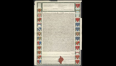 Coloured Engraving of the Magna Carta before being burnt. The text is framed by a variety of shields depicting different coat of arms.