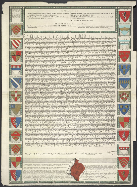 Engraving of the burnt Magna Carta