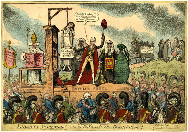 George Cruikshank's satirical drawing 'Liberty suspended!'