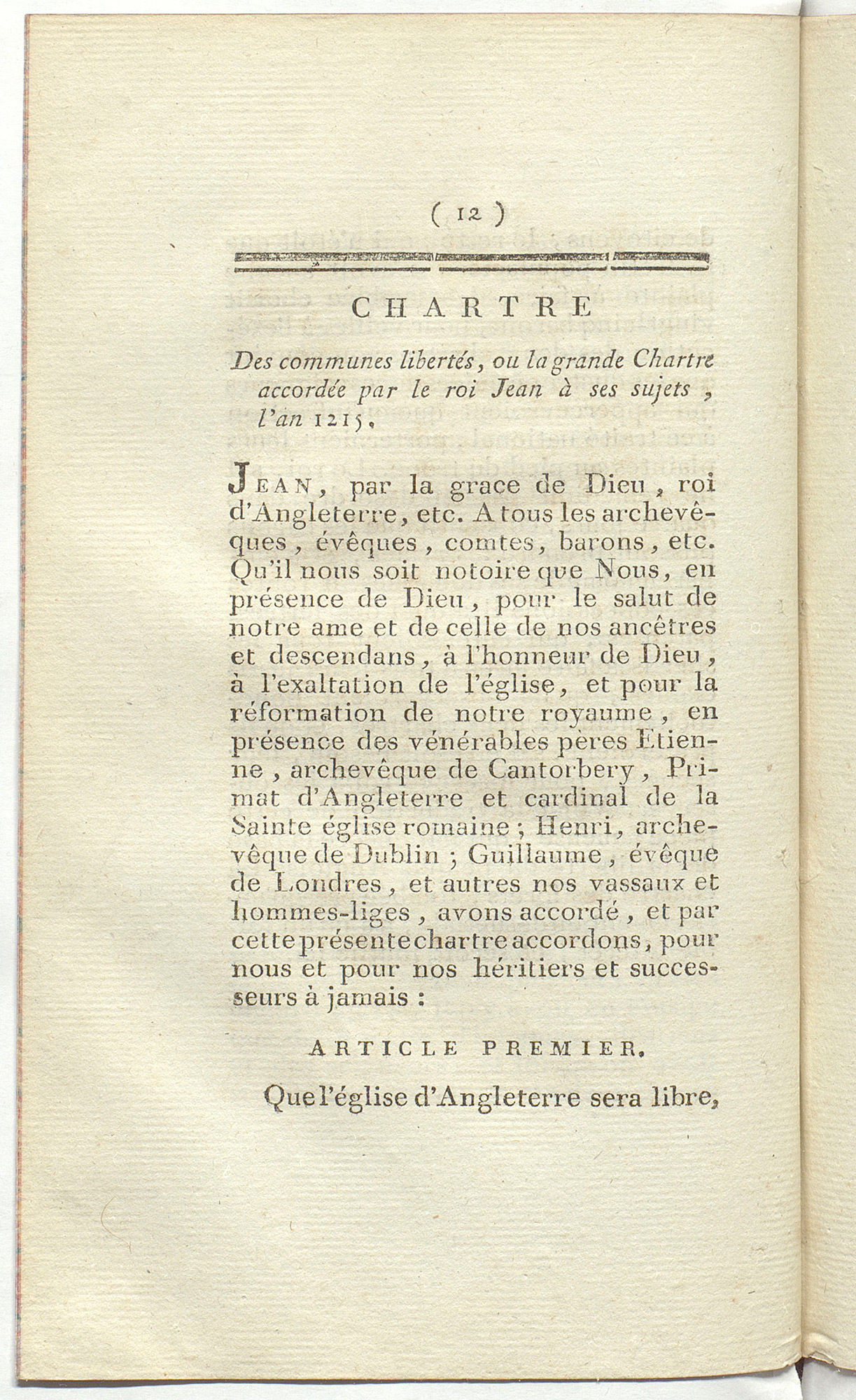 Grande Chartre d'Angleterre, a French translation of Magna Carta