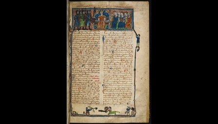 Manuscript page of 'On the Laws and Customs of England'. The page is headed by a miniature of a king holding a sword and a sealed charter and surrounded by people. The text is framed and the margin is decorated with mythical creatures such as centaurs.