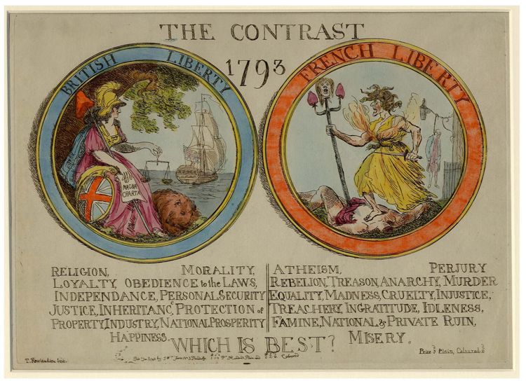 Illustration contrasting British Liberty with French Liberty