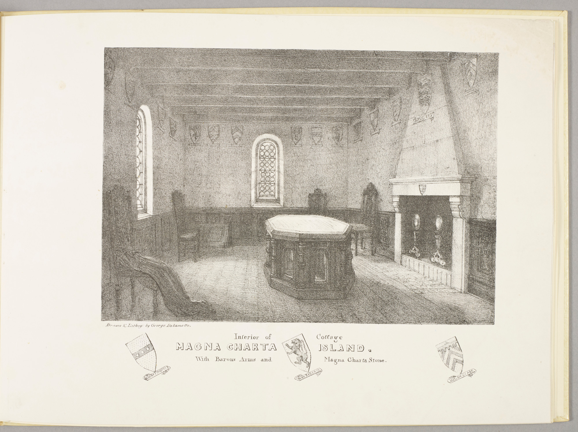'Interior of cottage, Magna Charta Island', in Views of Magna Charta Island