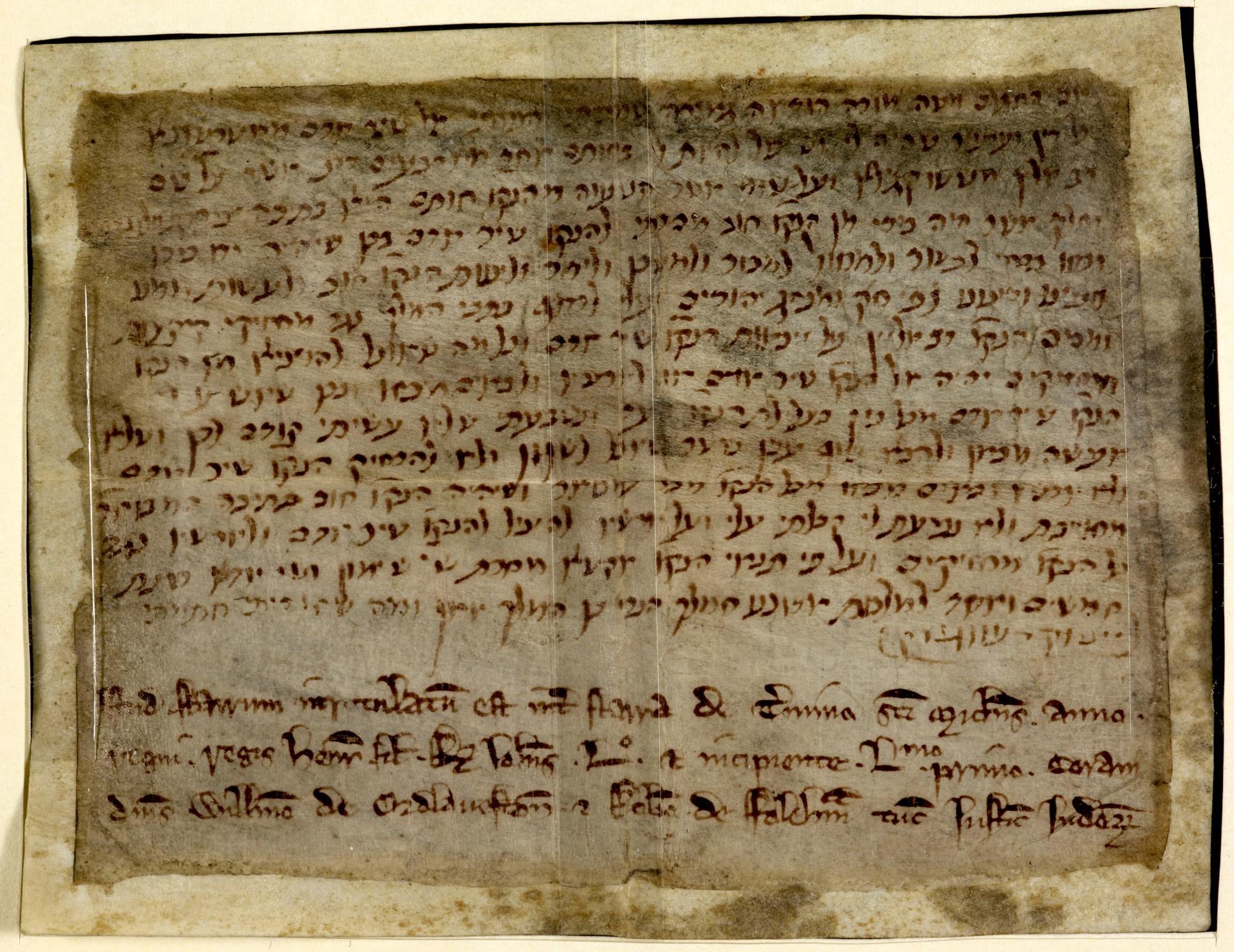 Hebrew Charters describing Jews in Medieval England