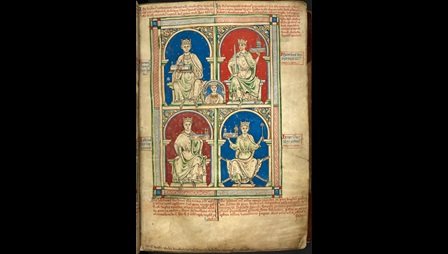 images of four English kings holding buildings that represent their religious foundations. The images are in grid formation. 2x2. Each king in seated on a throne. From left to right, top to bottom:  Henry II with Waltham Abbey; Richard I the Lionheart with the church of St Thomas of Canterbury; John with the Cistercian Abbey of Beaulieu; Henry III with Westminster Abbey