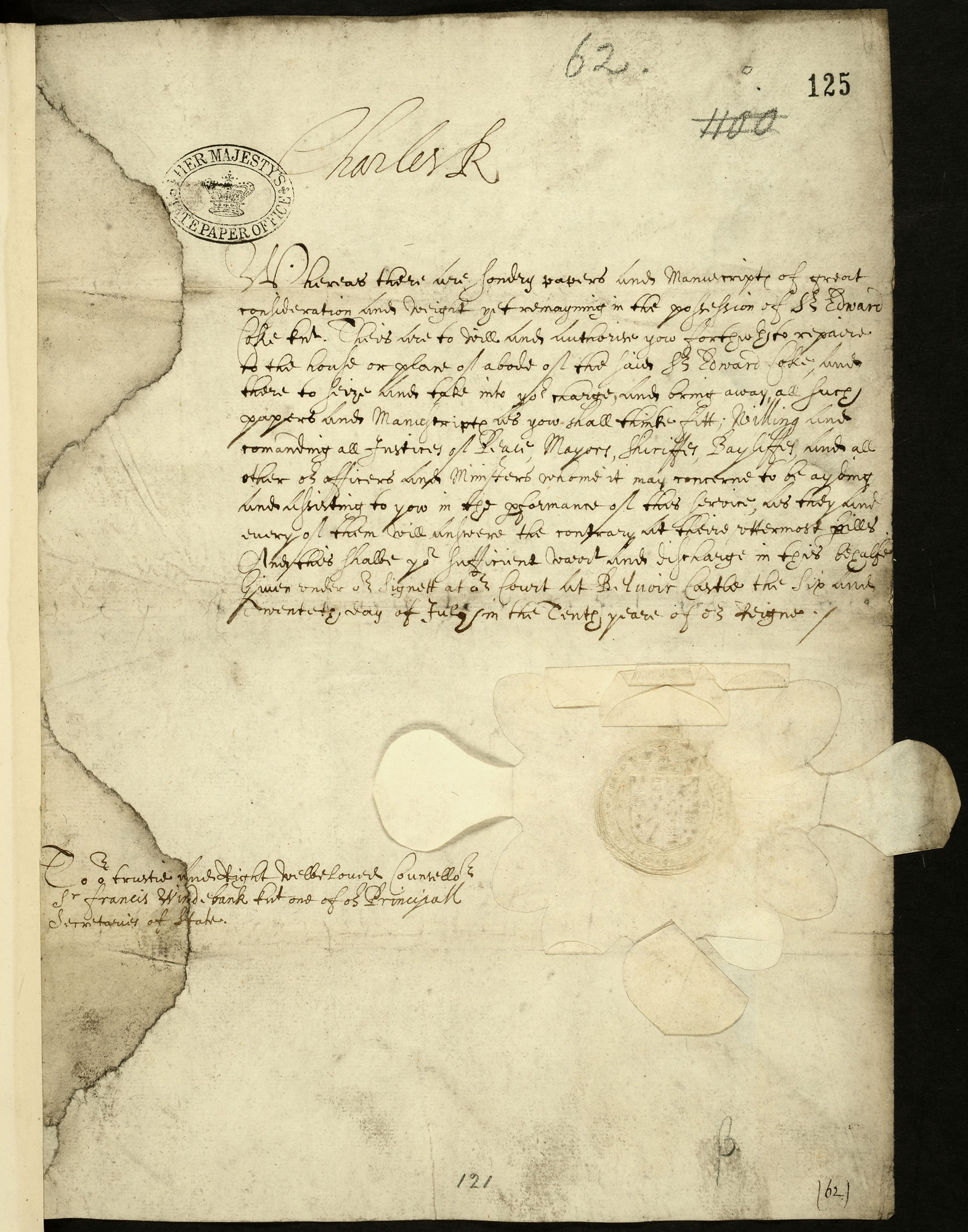 Letter of King Charles I ordering that Edward Coke's papers be confiscated