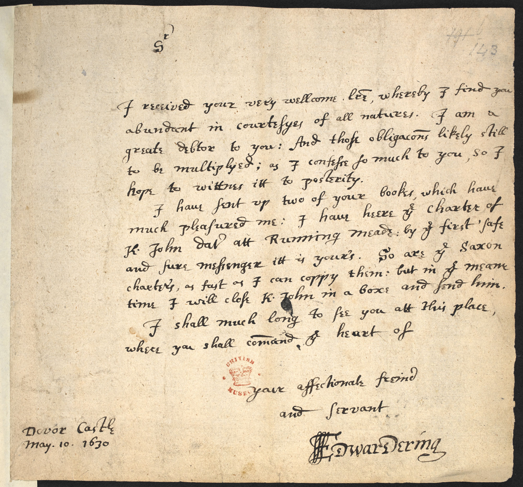 Letter from Sir Edward Dering sending Magna Carta to Sir Robert Cotton