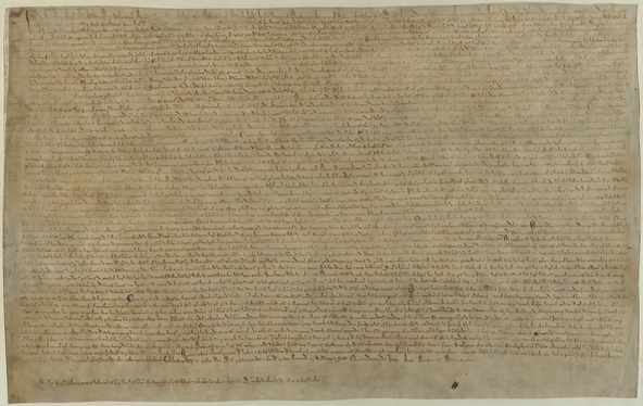 Original 1215 edition of Magna Carta, Cotton Augustus ii.106. Manuscript of small neat writing