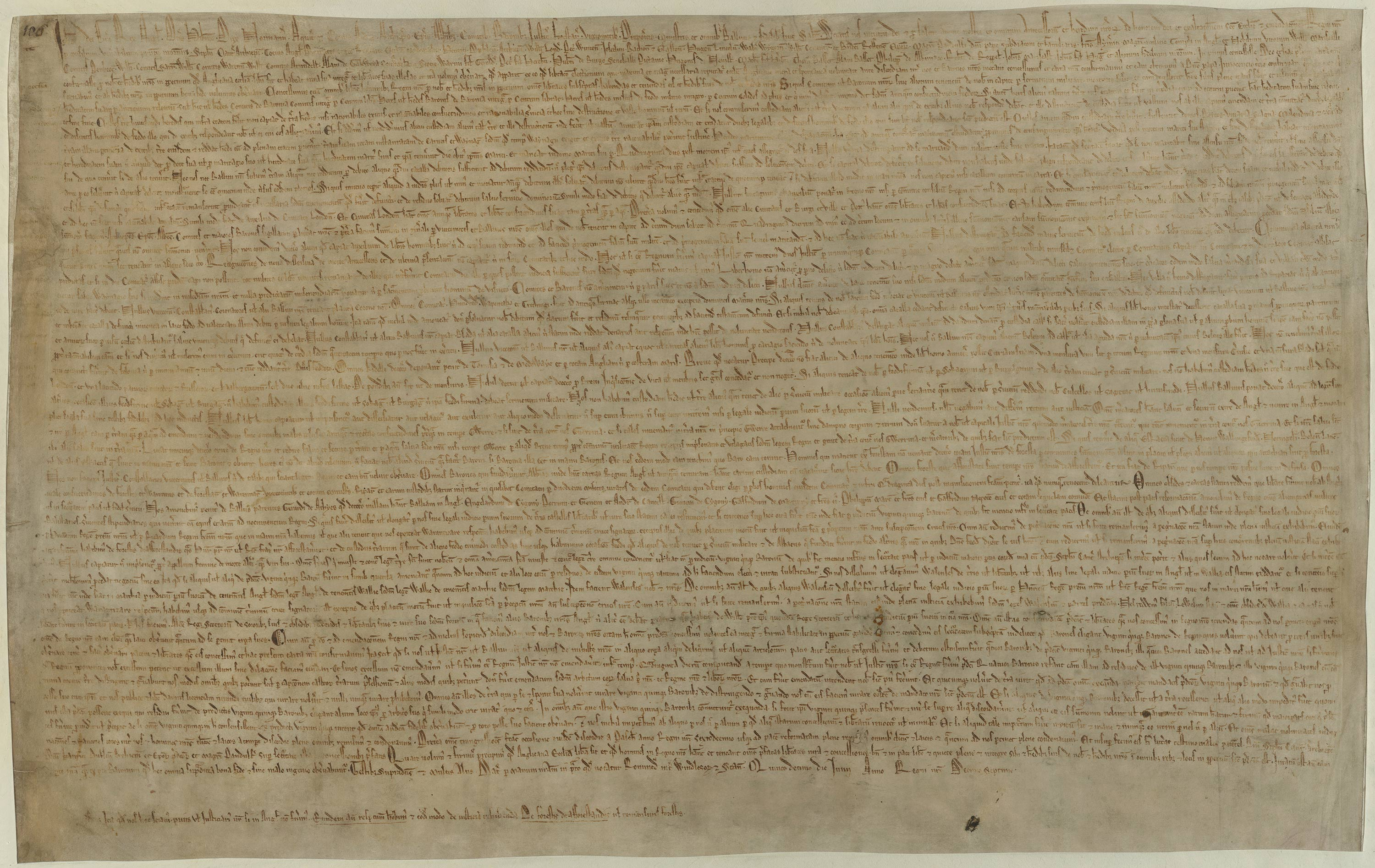 Original 1215 edition of Magna Carta, Cotton Augustus ii.106
