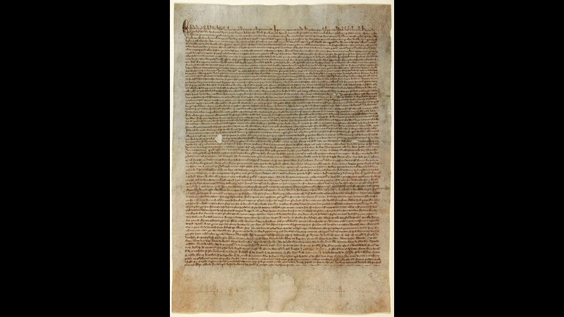 Manuscript of Magna Carta, 1297. Closely written undecorated text on a single sheet