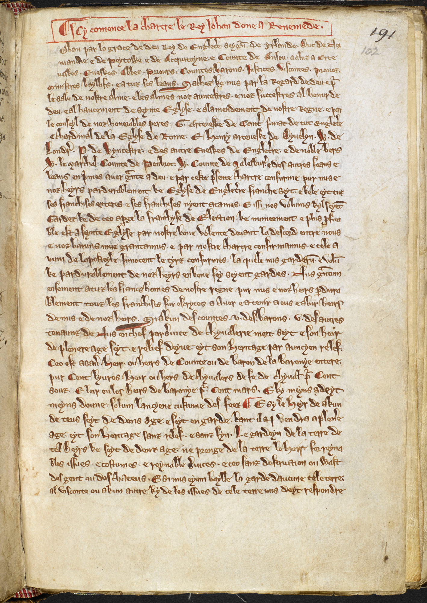 Magna Carta translated into Anglo Norman French