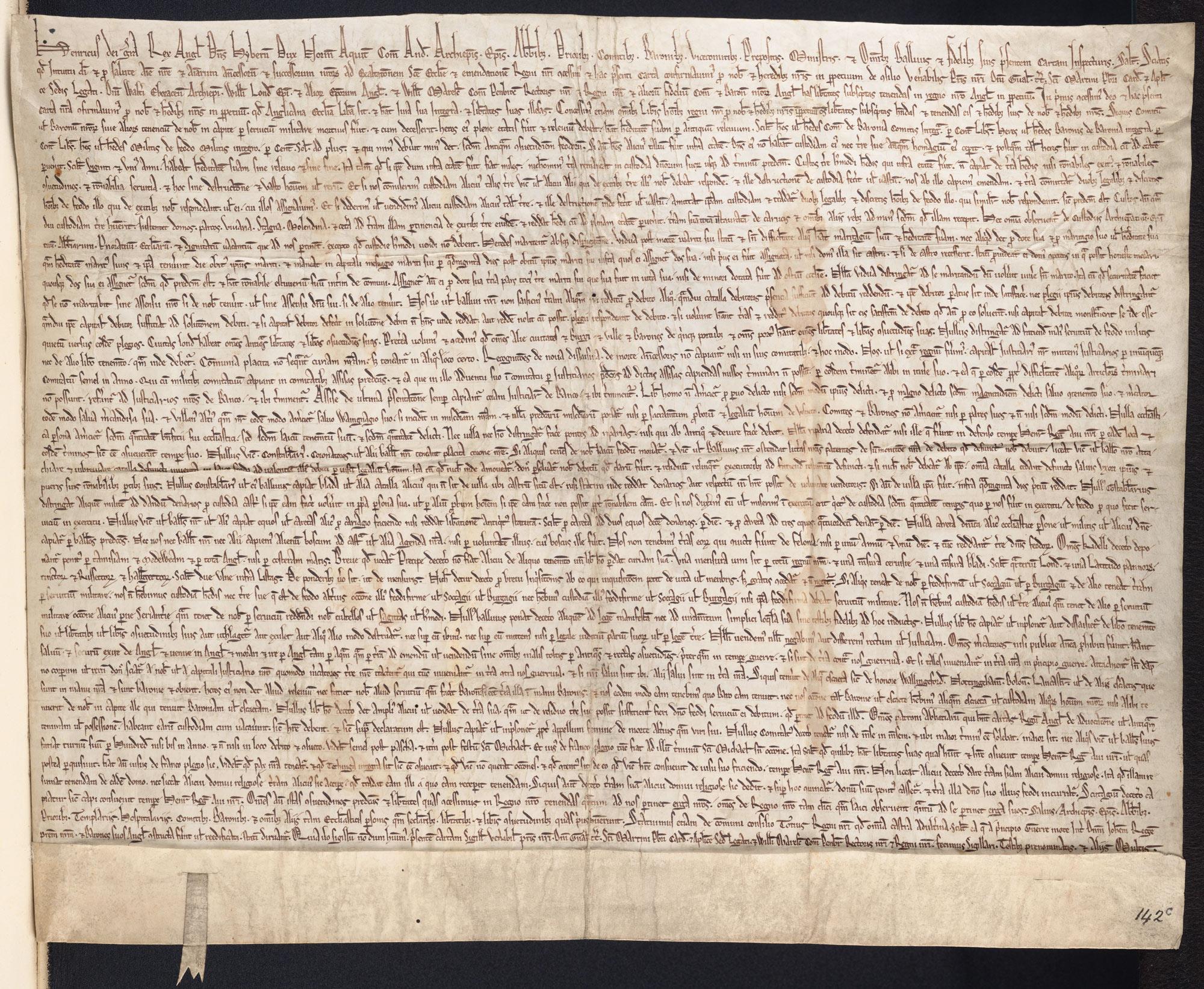 Magna Carta with the seal of Cardinal Guala, 1217