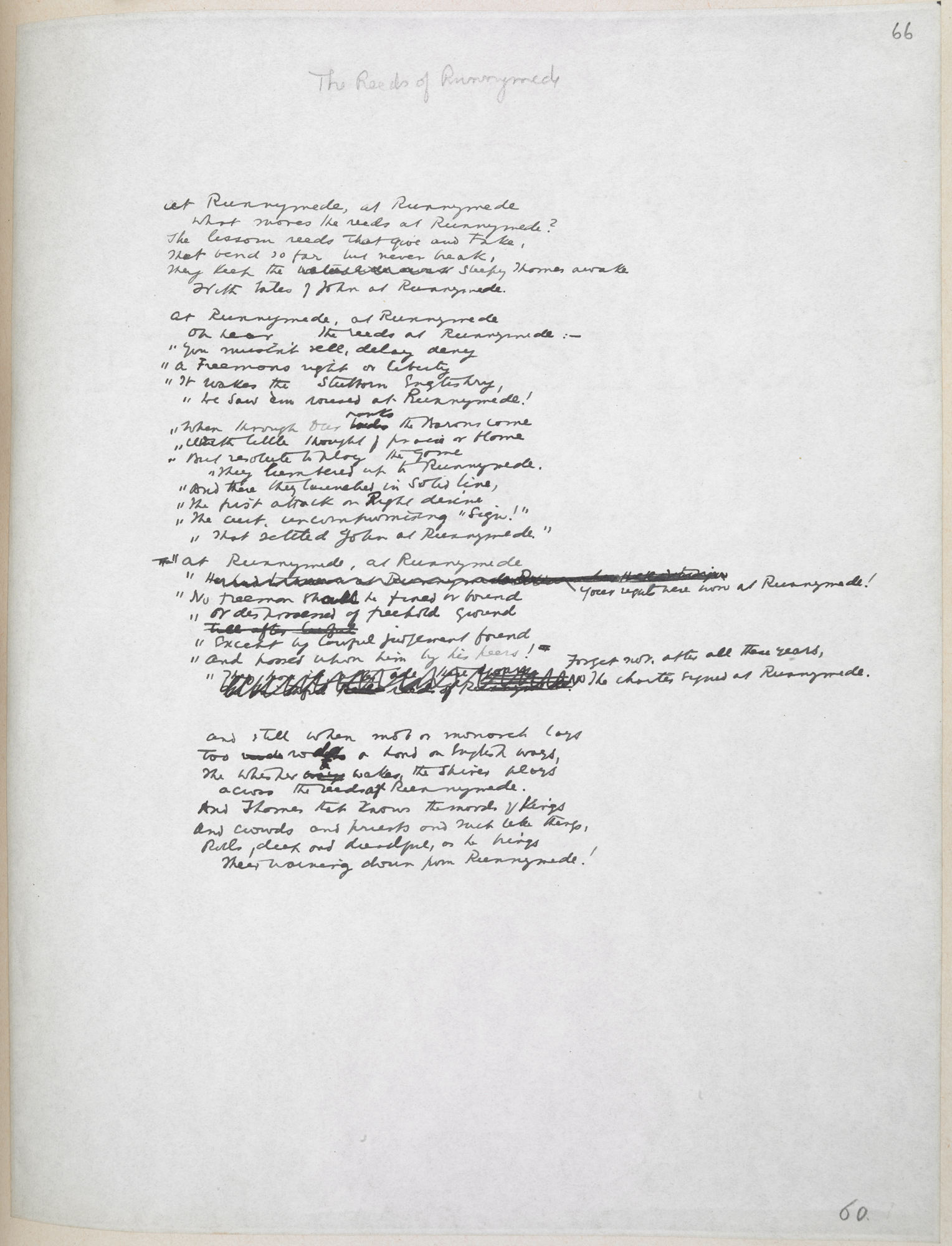 Manuscript of Rudyard Kipling's 'Reeds at Runnymede'