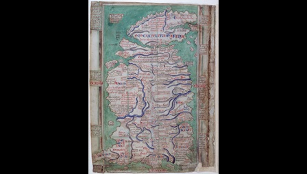 Matthew Paris's 13th century Map of Britain. Rivers are marked in dark blue, the sea is blue-green. The shape of Britain is not as we know it to look now but the island is clearly recognisable as Britain. Scotland is joined to the mainland by a bridge at Stirling, Hadrian's wall is clearly visible, and Rochester, Canterbury and Dover are erroneously situated due south of London. Windsor ('Windleshores') is depicted as a castle straddling the River Thames, but Runnymede is not represented. No fewer than 252 places are recorded on this particular map, including 81 cathedrals and monasteries, 41 castles and 33 ports. Place names are highlighted in red ink