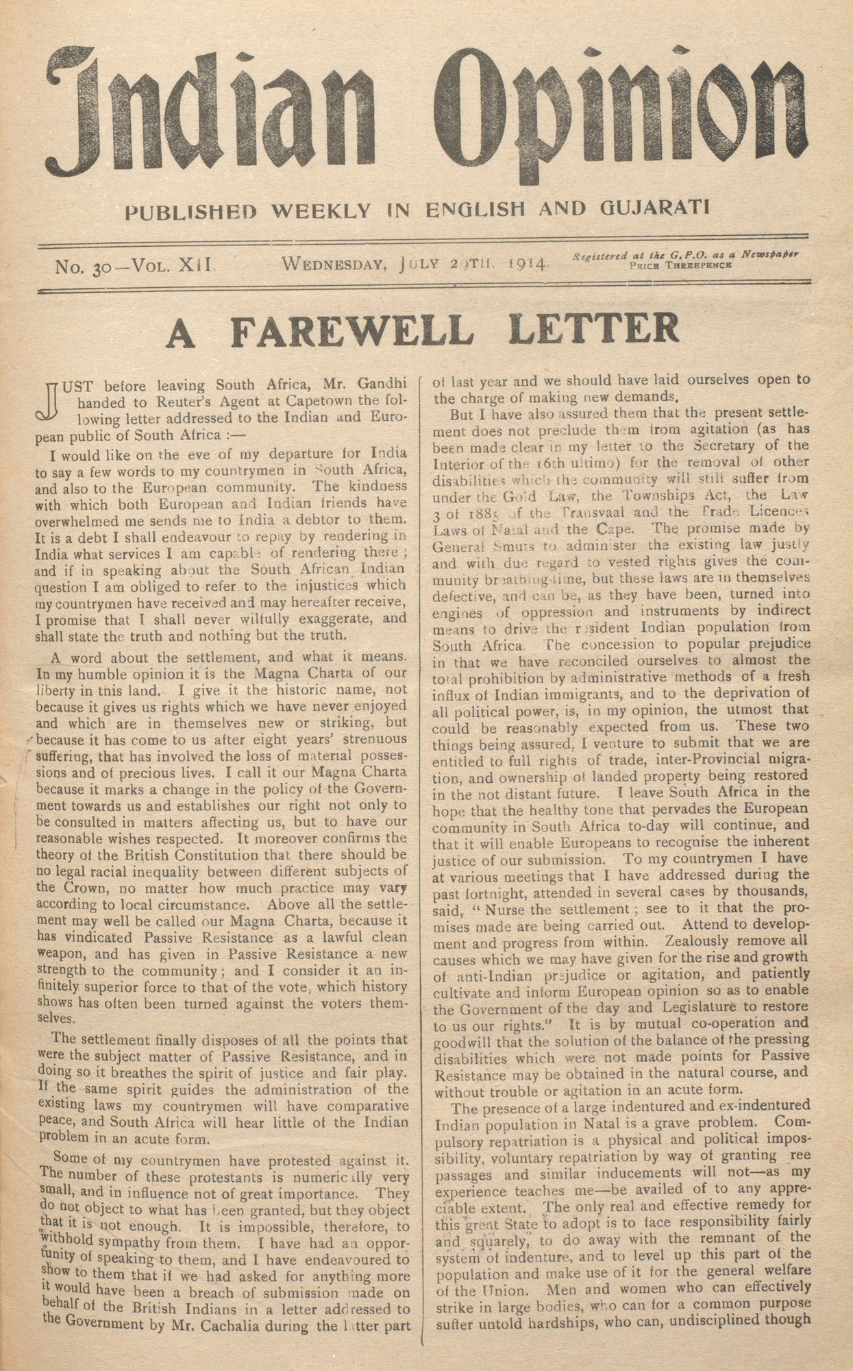 Mohandas Gandhi's A Farewell Letter in the newspaper Indian Opinion