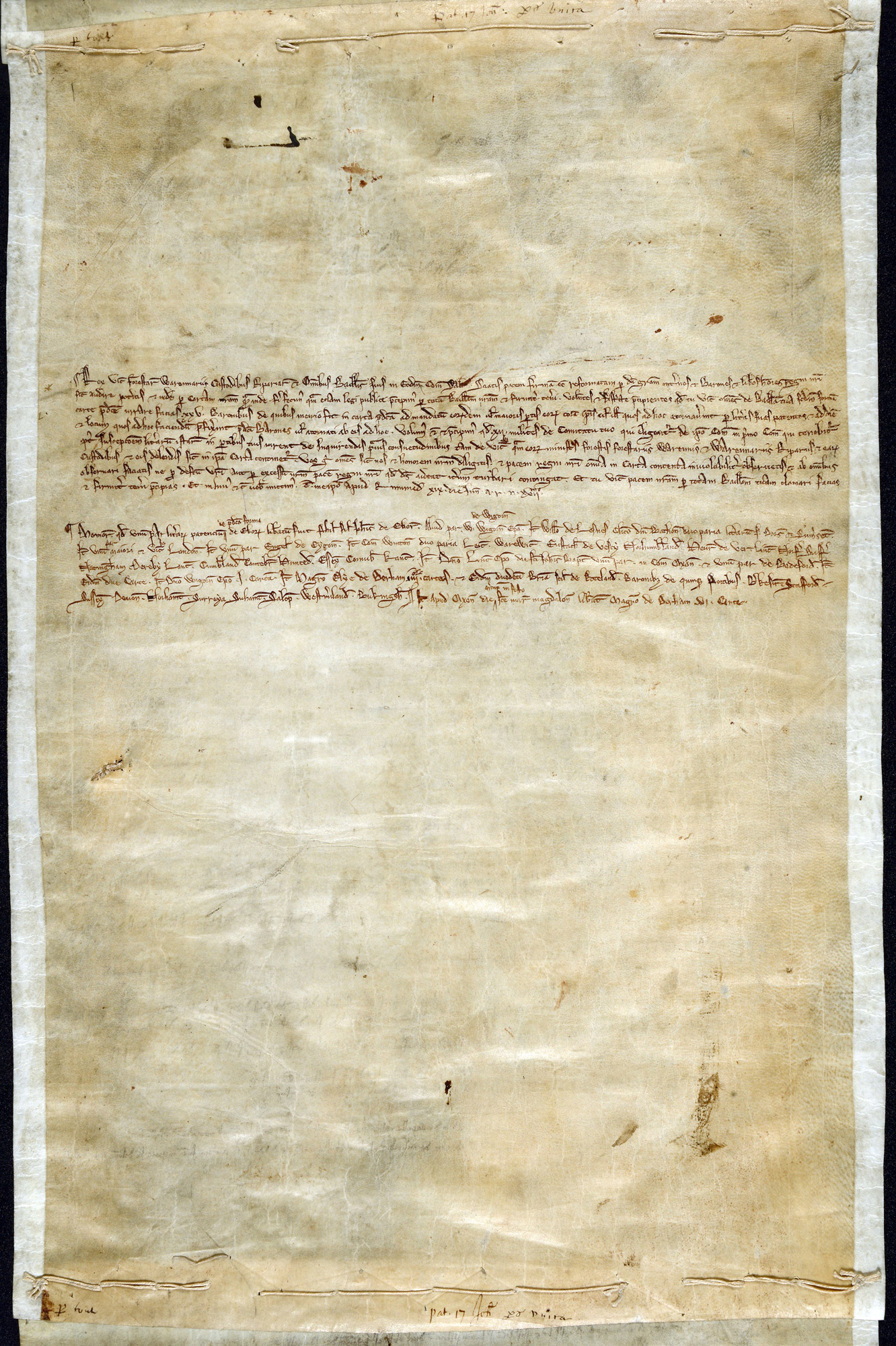Memorandum of the distribution of copies of Magna Carta