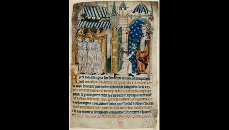 Manuscript page, the red ink has been used for every second line of text. The page is headed by a colourful miniature image which depicts King John being offered a cup of poison: as the accompanying text relates, in Anglo-Norman French, 'e fuit enpoysone par une frere de la meson' (he was poisoned by a brother of the house). King John accepts the chalice with a look of suspicion, while the monk's brethren watch eagerly to see whether the ruse will succeed.
