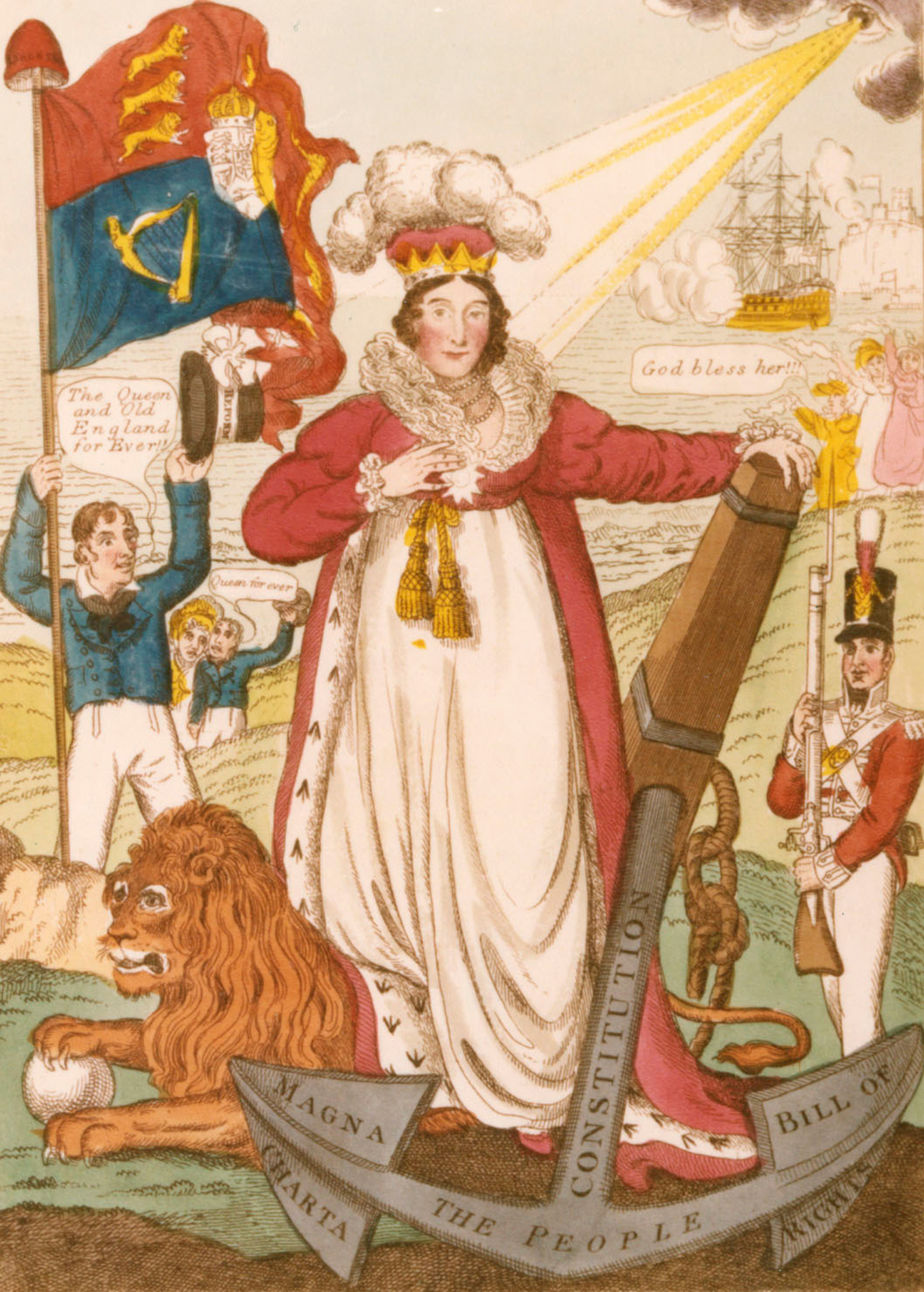 Political caricature of Queen Caroline 'Britain's Best Hope, England's Sheet Anchor'