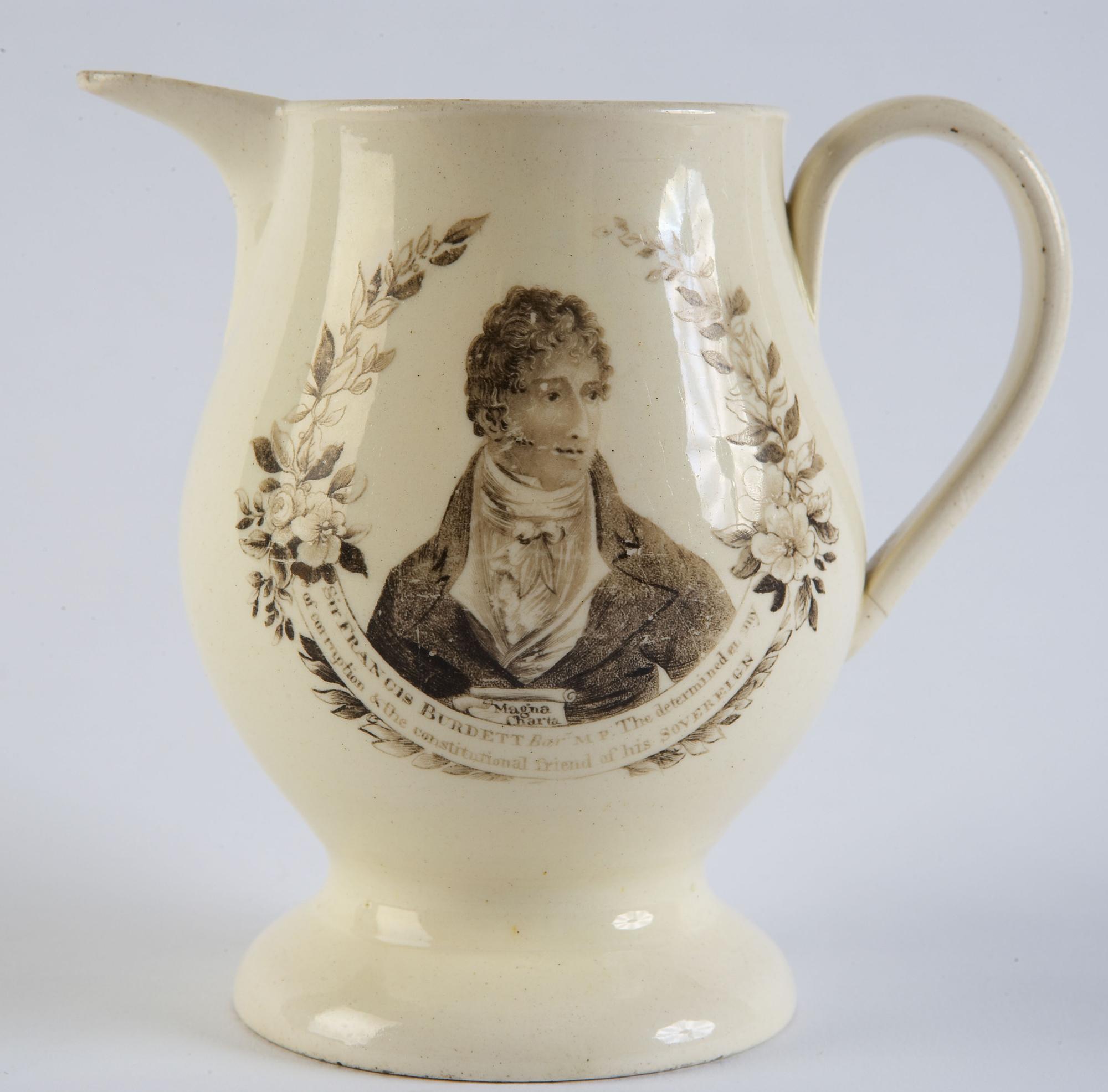 Porcelain jug depicting Francis Burdett