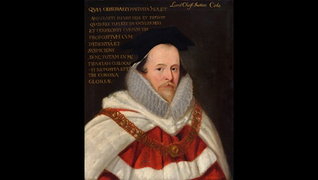 Portrait of Sir Edward Coke by an unknown artist. The figure is wearing a ruff and a red and white robe with a white cape.