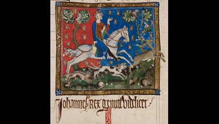 Portrait of King John, wearing a crown, sitting on a grey horse, while his pack of hounds pursues a stag. Painted against a red and blue background.  In the foreground a number of rabbits bolt into their holes, while several birds watch the hunt from the safety of the trees.