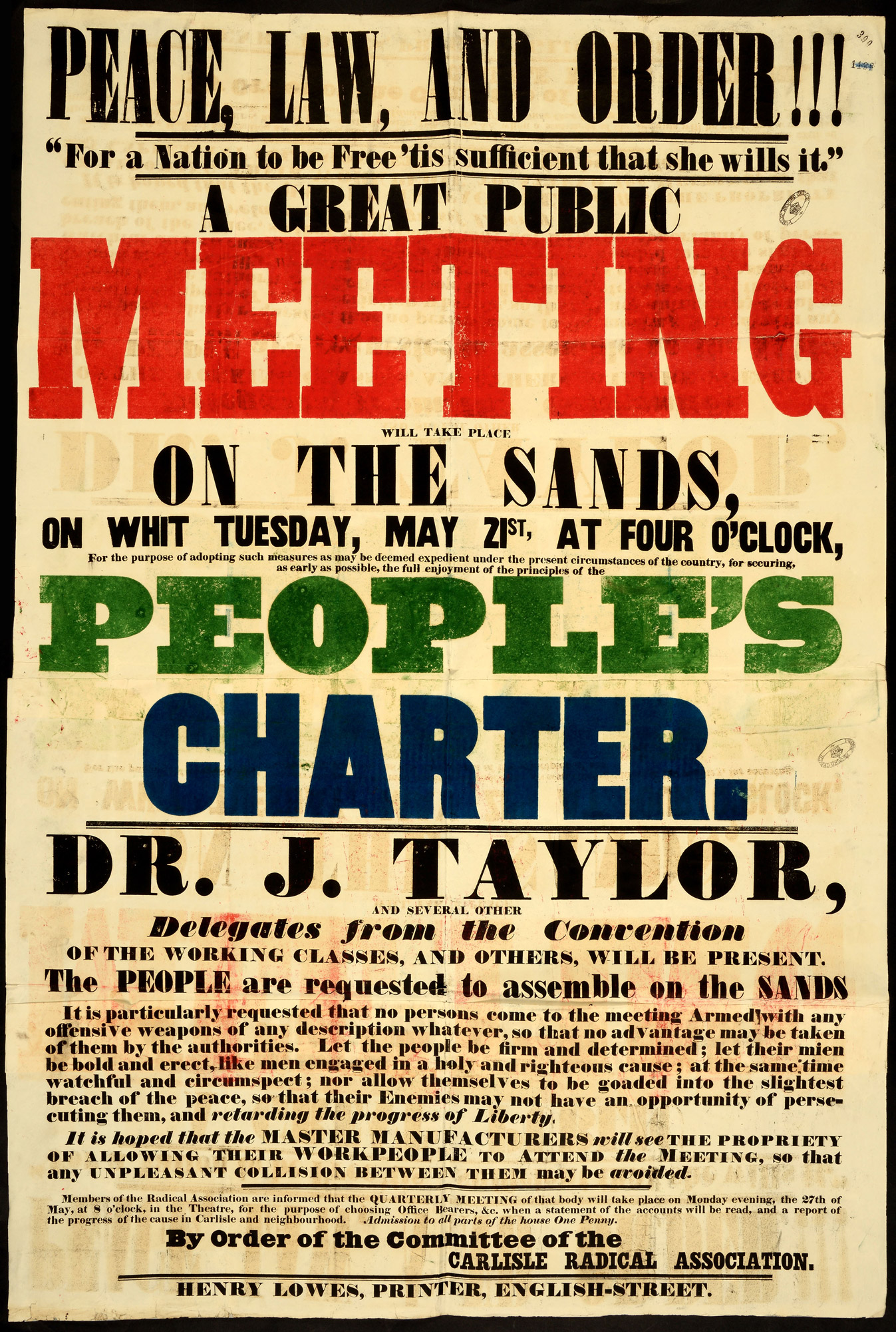 Poster for public meeting for the Peoples Charter