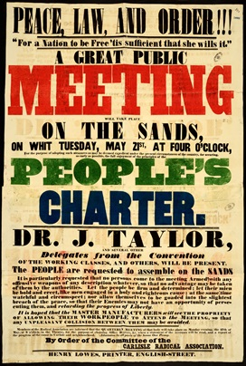 Poster for public meeting for the Peoples Charter. The word 'meeting' is printed in red, 'people's in green and 'charter' in blue.