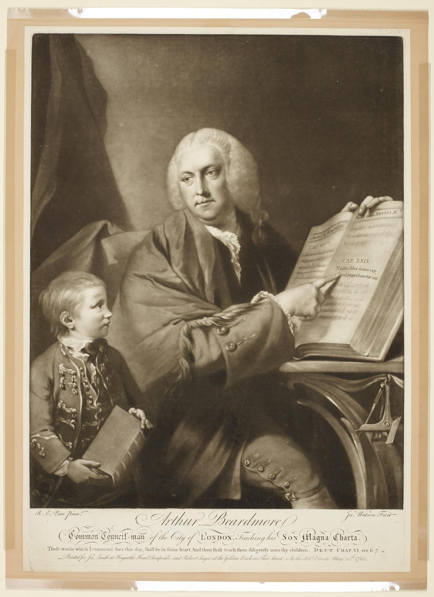 Print of 'Arthur Beardmore Common-Council Man of the City of London, Teaching his Son Magna Carta'