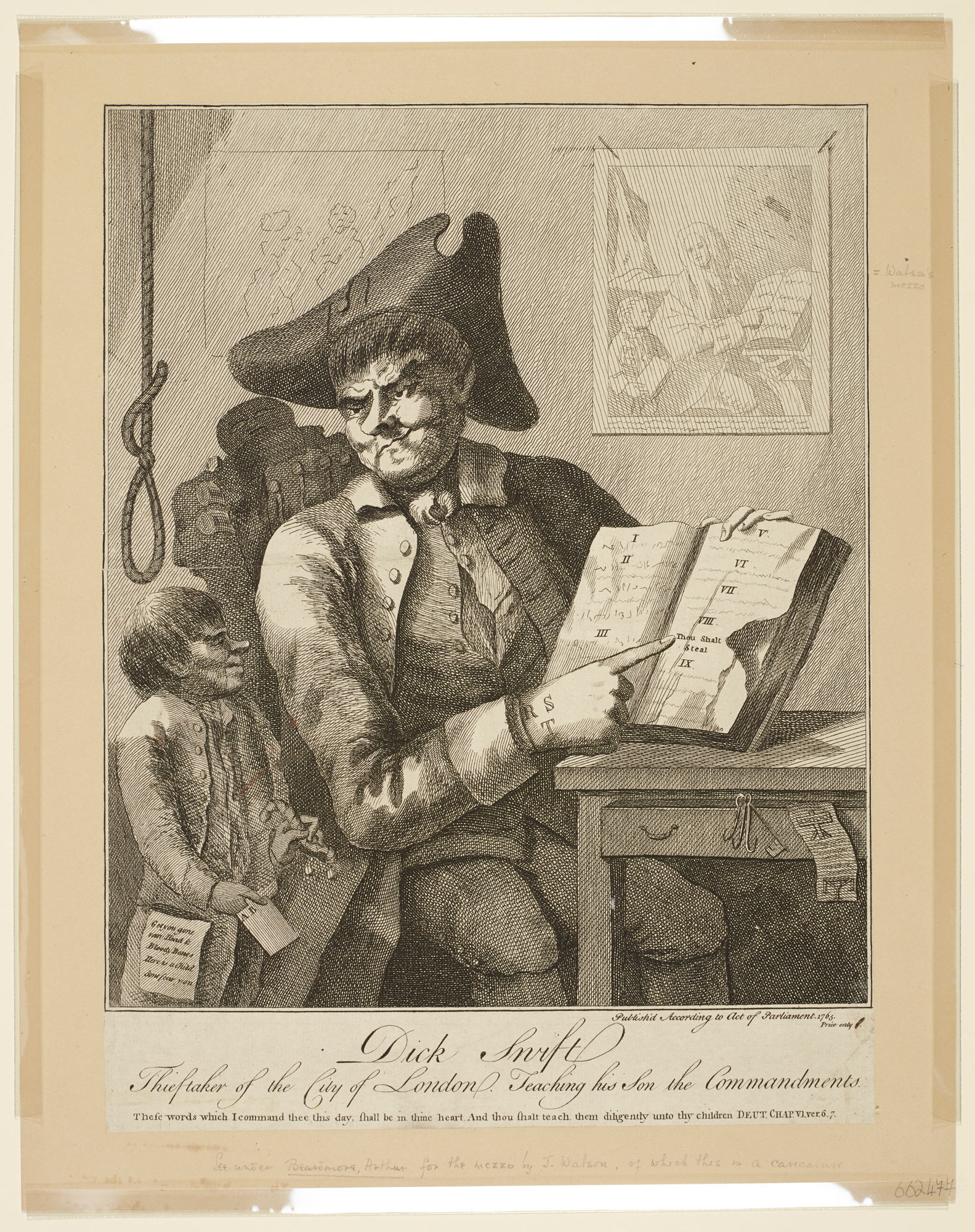 Print of 'Dick Swift Thieftaker of the City of London Teaching his Son the Commandments'
