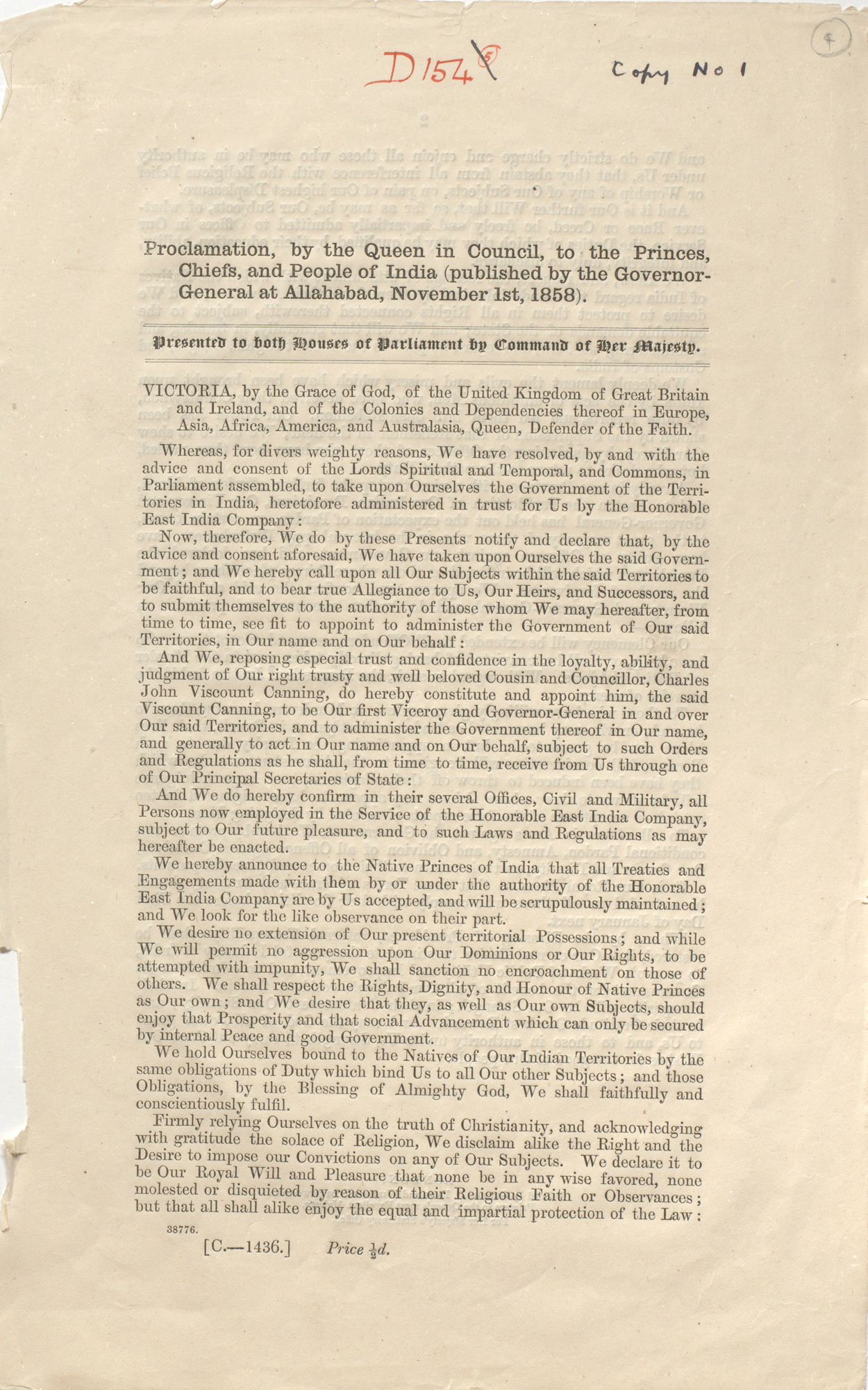 Proclamation, by the Queen in Council, to the Princes, Chiefs and People of India