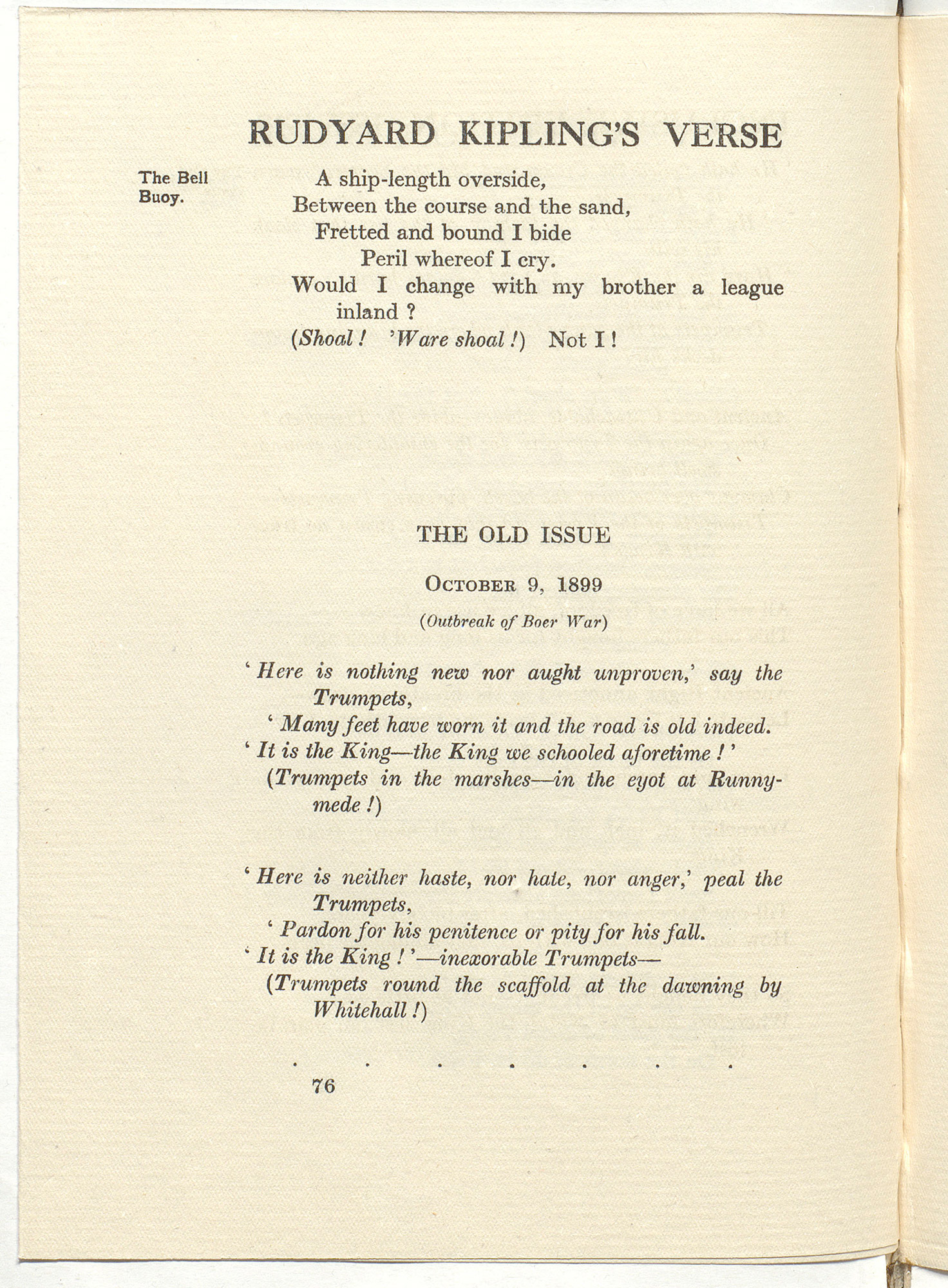 Rudyard Kipling's own copy of his poem 'The Old Issue: October 9, 1899'