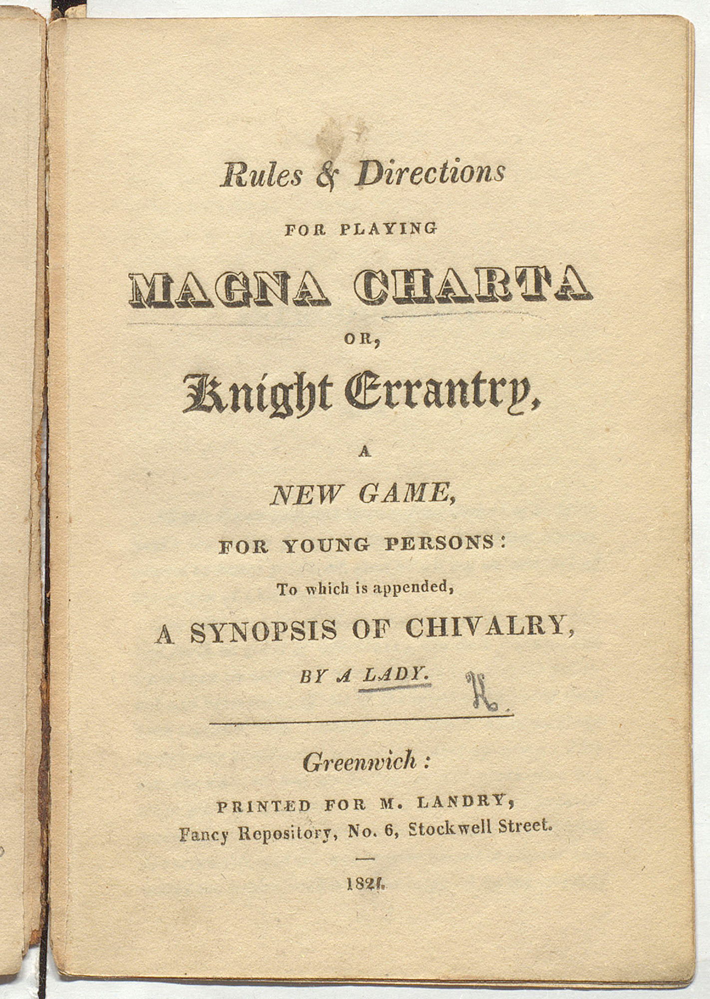 Rules and directions for playing card game entitled Magna Charta or Knight Errantry